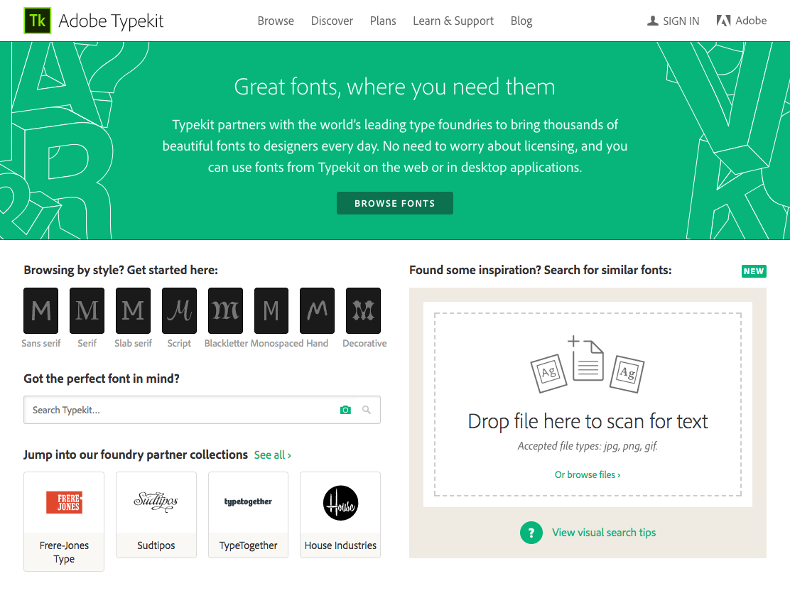 Typekit homepage now with visual search ability