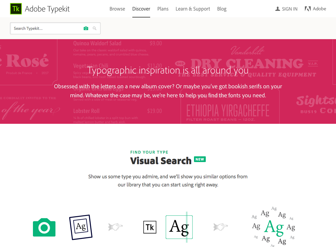 New Discover page on Typekit for typographic inspiration