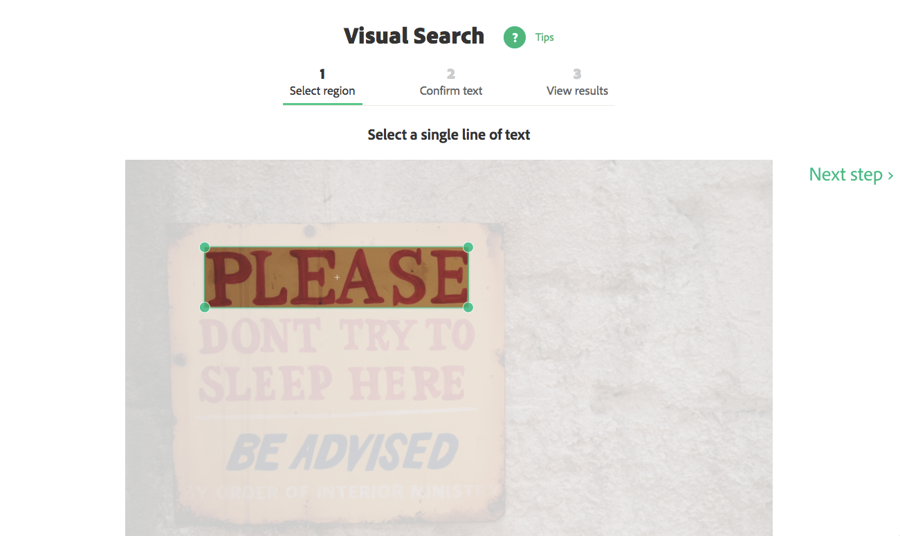 Selecting a line of text in visual search