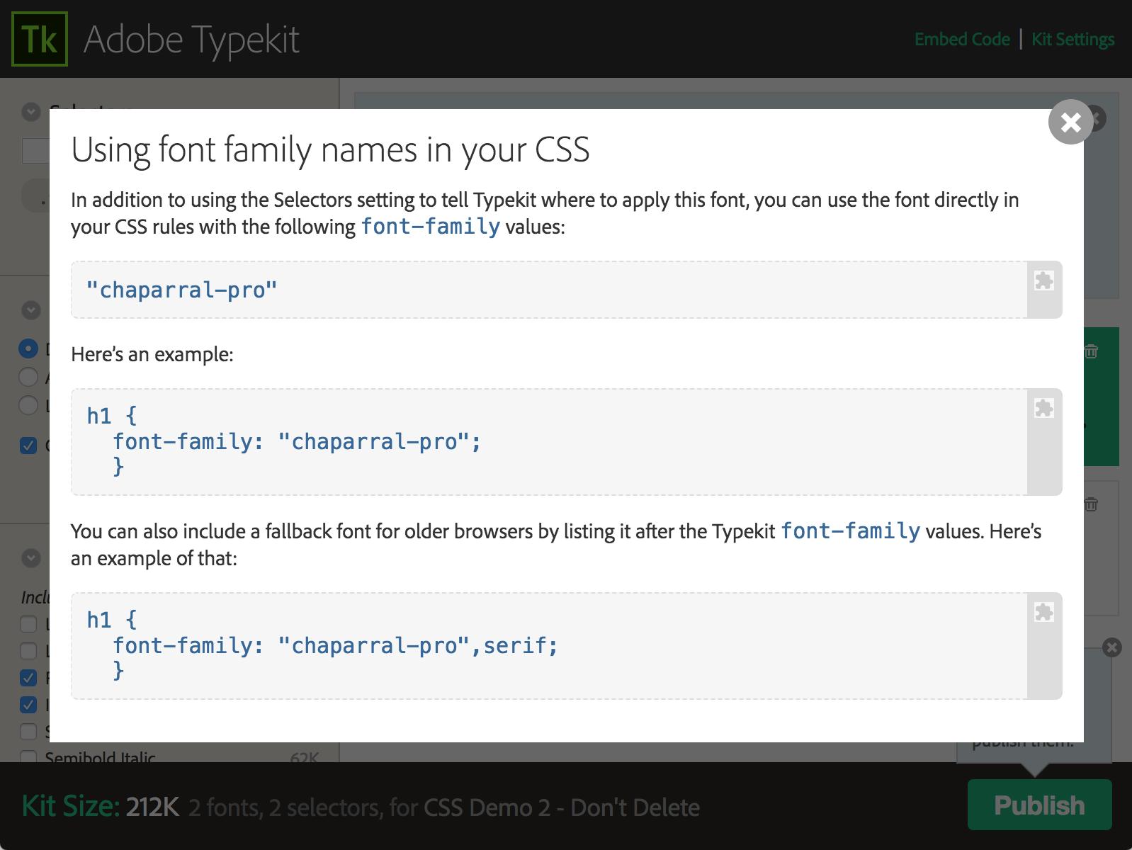 Font Family name values shown in kit editor