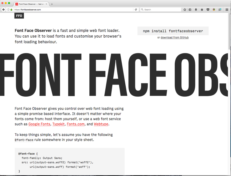 Font Face Observer homepage