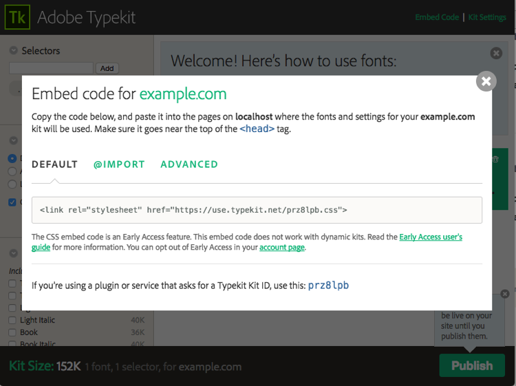 Embed Code detail in the kit editor