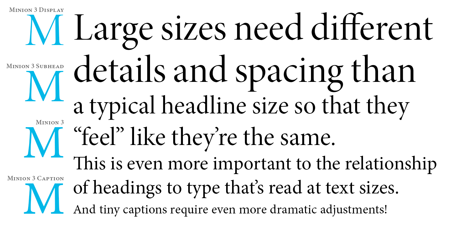 Detail of caption, subhead, and display variations of Minion