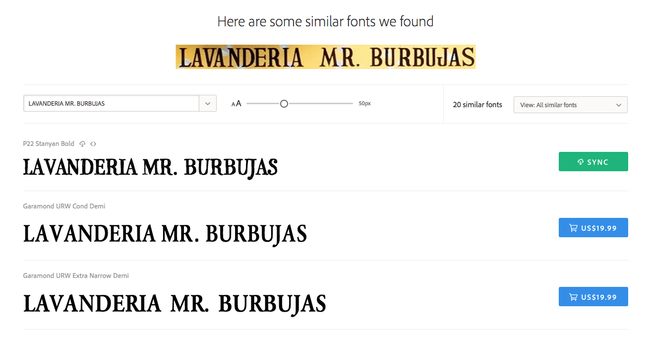 The first visual search result for the Mr. Buburjas sample is P22 Stanyan Bold, followed by Garamond from URW