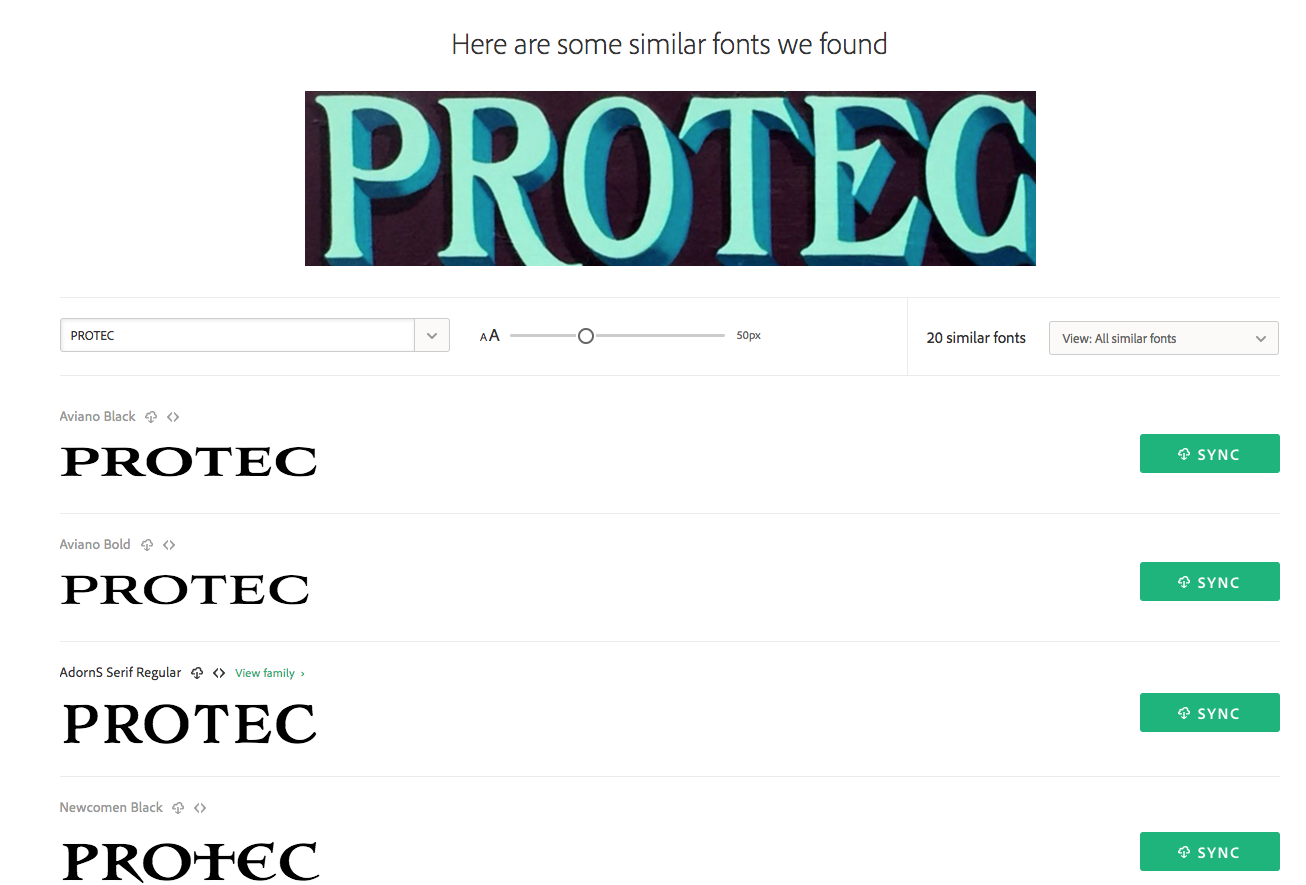 The visual search results for Protect suggest Aviano Black, Aviano Bold, AdornS Serif Regular, and Newcomen Black