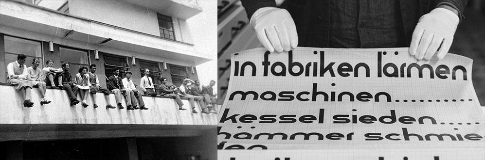 Bauhaus students and a type specimen, historic photographs