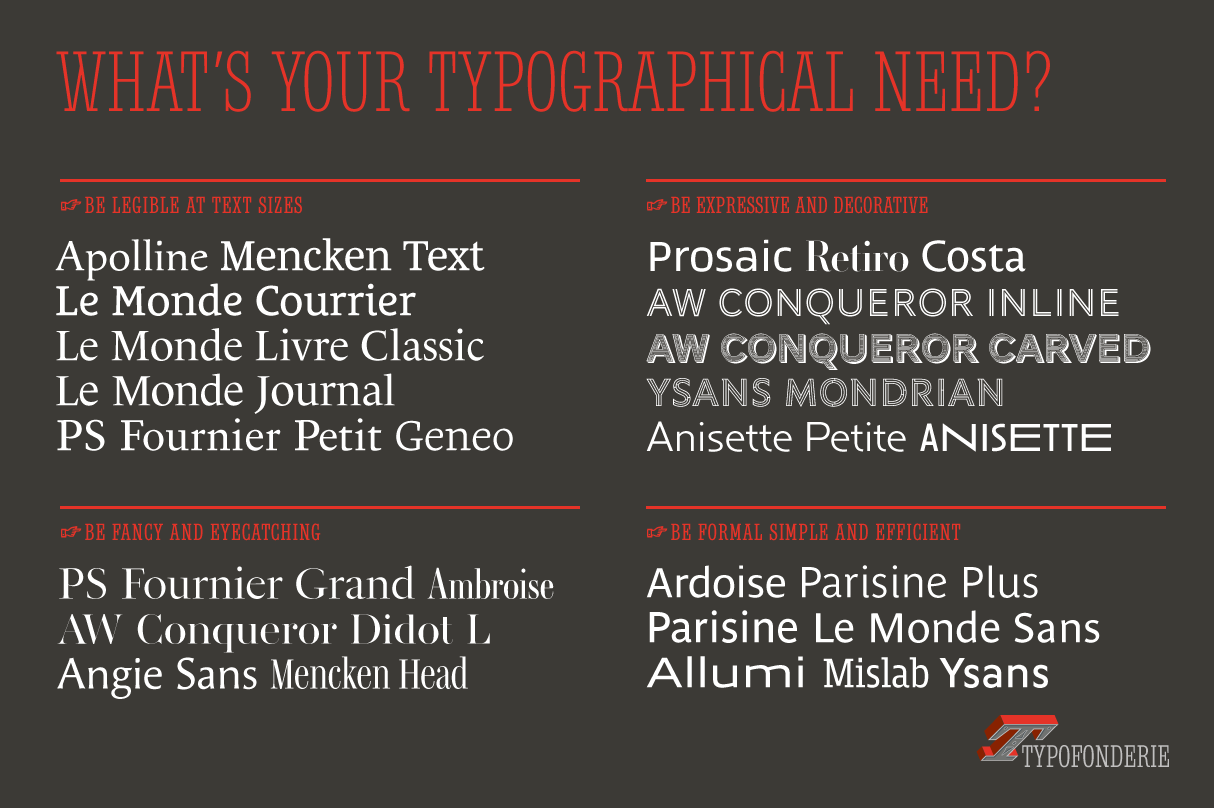 Typefaces sorted by category: Legible at text sizes, expressive and decorative, fancy and eyecatching, and simple and efficient